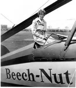 Earhart on the Beech-Nut Plane