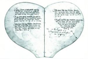 1550 Danish Heart Shaped Manuscript of Love Ballads